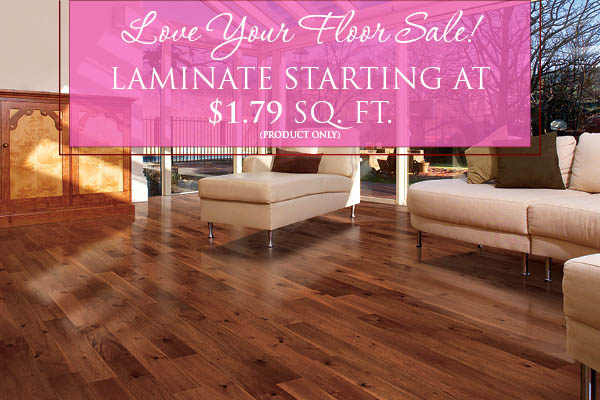 Laminate flooring starting at $1.79 sq.ft. (product only)