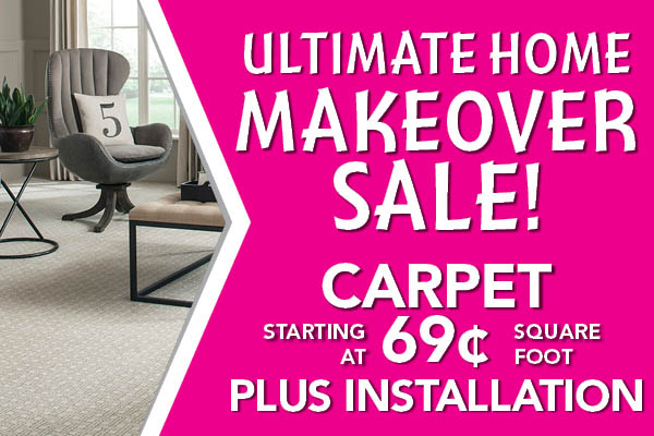 Carpet starting at $0.69 sq.ft. plus installation during the Home Makeover Sale at Carpets & Us Floors To Go Design Center