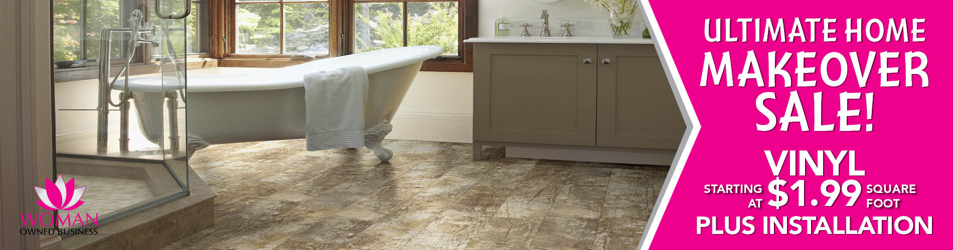 Vinyl starting at $1.99 sq.ft. plus installation during the Home Makeover Sale at Carpets & Us Floors To Go Design Center