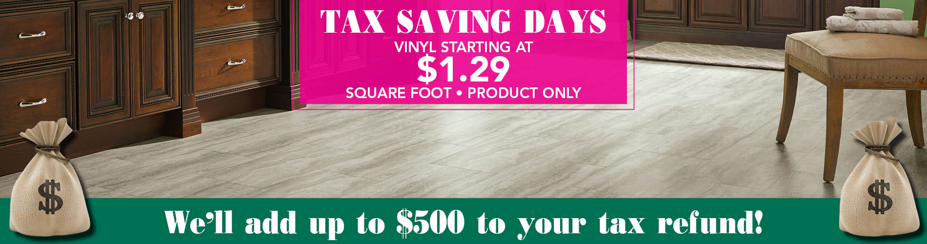 Vinyl starting at $1.29 sq.ft. - Product Only